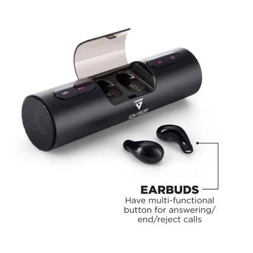 bluetooth wireless speaker with earbuds